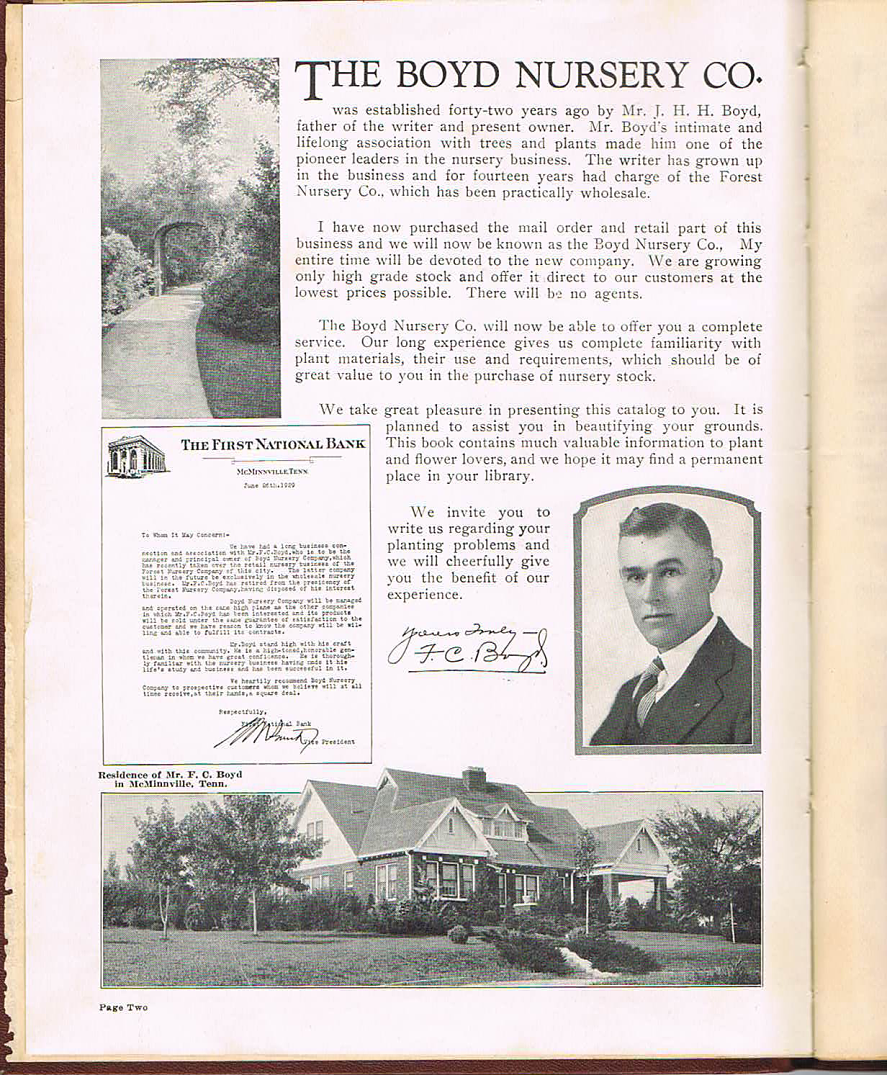 F.C. Boyd, Sr. Letter from 1929 Price Catalog