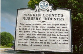 Warren County's Nursery Industry Tennessee State Sign 2E 60