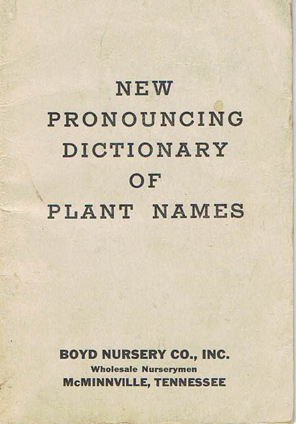 Boyd Nursery Company Pronouncing Dictionary