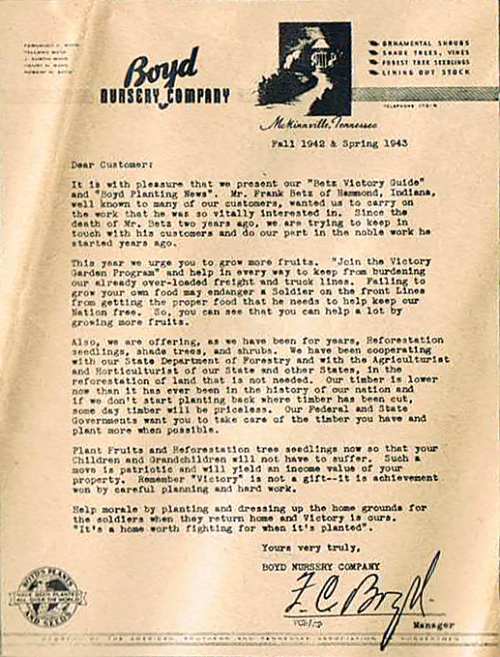 Close-Up Victory Garden Letter written by F.C. Boyd, Sr. and Mr. Frank Betz