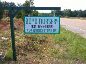 Boyd Nursery Company Sign Morrison Tennessee