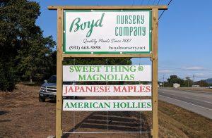 Boyd Nursery Company Sign